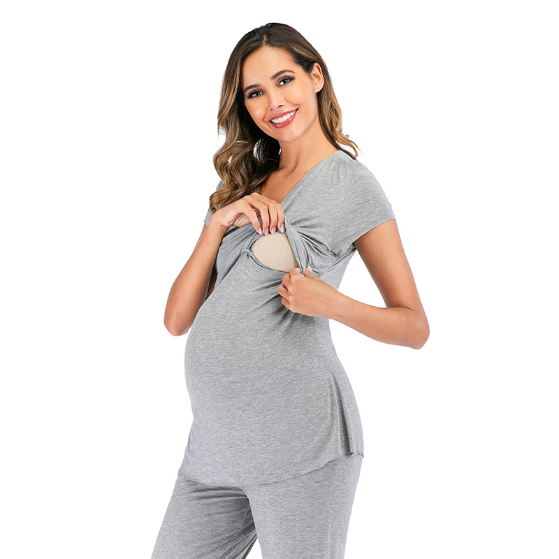 2Pcs/Set Pregnancy Maternity Pajamas Sleepwear Nursing Pregnant Pajamas set Breastfeeding Elegant Maternity Nursing  pyjama