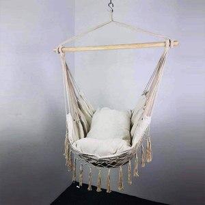Macramé de cuerda colgante hamaca silla porche columpio asiento para interior y exterior jardín Patio dormitorio