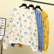 Milinsus 2019 New Dinosaur Printing Cute Cartoon Hoodies Female Thin Autumn Winter Women Clothes Korean Sweatshirt Outerwear