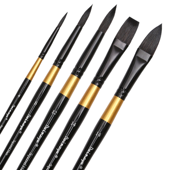Dainayw Watercolor Paint Brushes Set Squirrel Hair Professional Artist Painting Mop For Gouache Watercolors Inks, 5Pcs