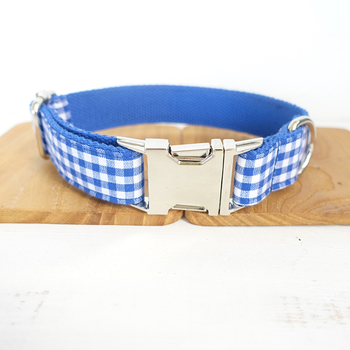 New Pretty dog collars and leashes set 5 sizes Handmade soft pet accessory THE BLUE YUMMY PLAID UDC046 image