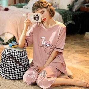 Image 2 - M 5XL Cotton Women Pajamas Sets Cute Animal Girls Sleepwear Womens Pijamas Suit Home Clothes Larger Pyjama Femme