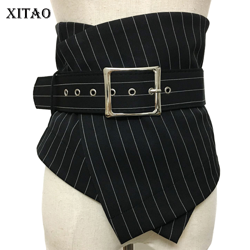 XITAO Irregular Match All Cummerbunds Patchwork Striped Decoration Women Clothes Korean Fashion Sashes Cummerbunds New GWY2709