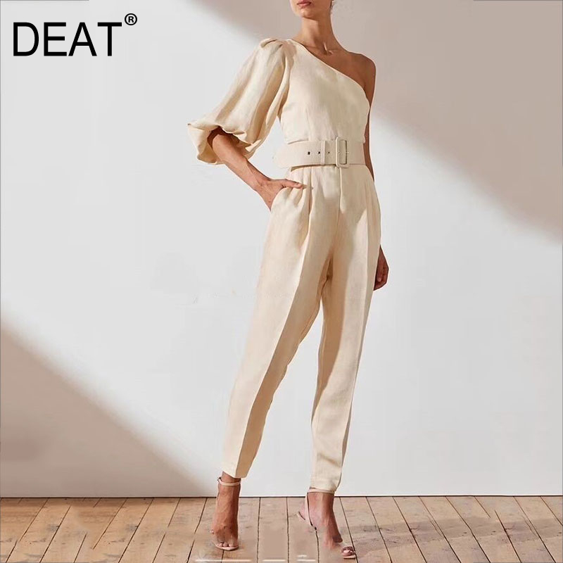 DEAT 2020 New Summer Fashion Women Clothes Puff Sleeves Square Collar High Waist Full Length Jumpsuit WK51712L