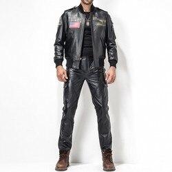 2020 Nieuwe Pantalones De Hombre Calcas Plus Size 29-35 Mode Lederen Broek Motorfiets Broek Mannen Lederen Straight broek