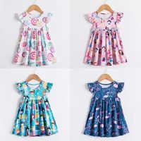 Vestido de verano para niñas, ropa de manga corta con estampado de flamenco, Donuts, para playa de 2 a 6 años
