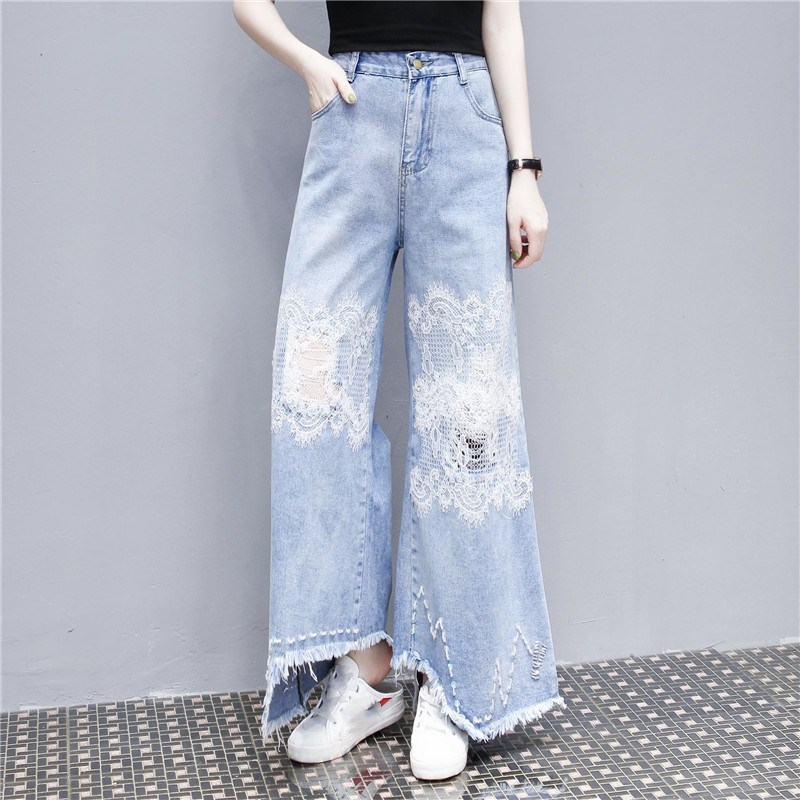 Nice High Waist Jeans Woman Plus Size Women Streetwear Blue Jeans Flare Pants Irregular Vintage Lace Jeans