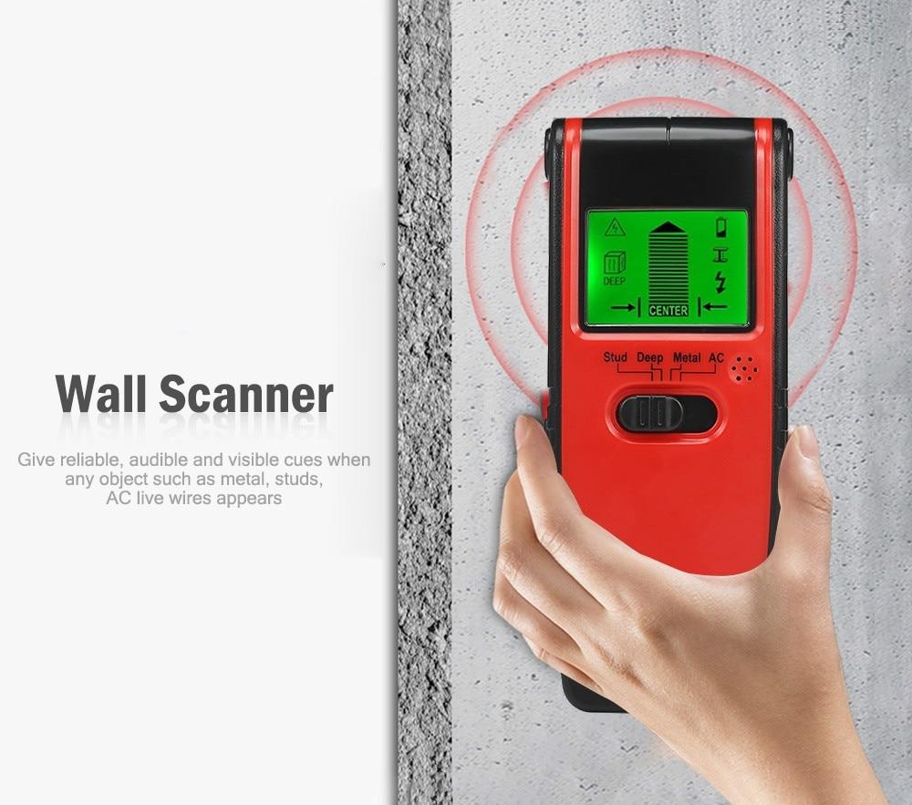 3 In 1 Metal Detector Wall Stud Center Finder Underground Wood Metal AC Live Wire Voltage Handheld Scanner Detector