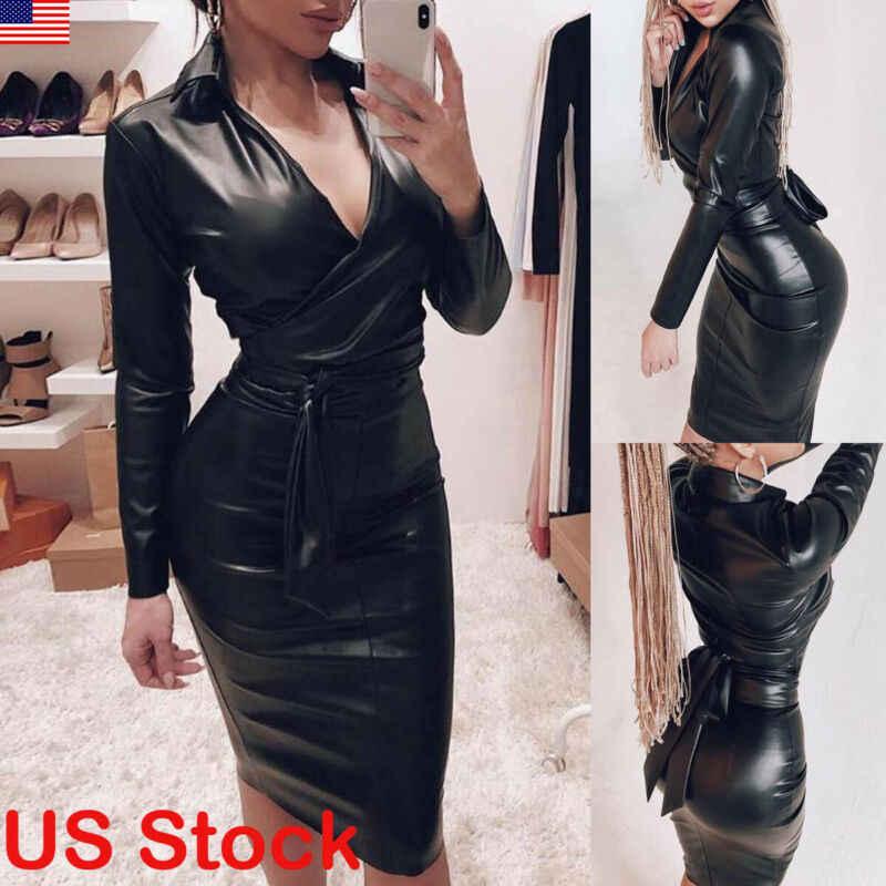 新ファッション女性レディースセクシーな Pu レザー長袖ミディドレスセクシーなボディコン V ネックパーティーラップドレス黒