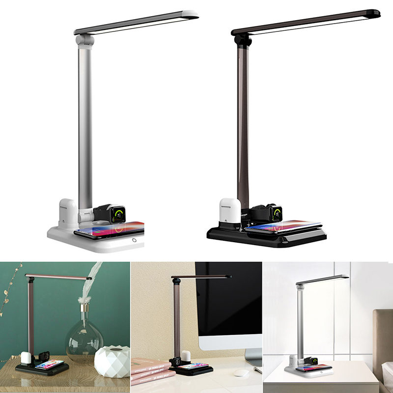 LED Table Lamp 4 In 1 Qi Wireless Charger Reading Desk Light Eye Protection Dimmer For Mobile Phone Watch Earphone Charging