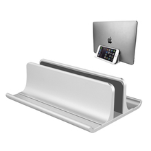 Adjustable Metal Vertical Laptop Stand Newly Designed 2 Slot Aluminum Desktop Dual Holder Up to 17.3 Inches   Silver
