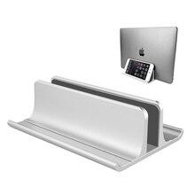 Verstelbare Metalen Verticale Laptop Stand Nieuw Ontworpen 2 Slot Aluminium Desktop Dual Houder tot 17.3 Inches Zilver