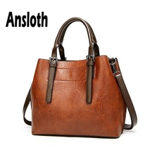 Ansloth Solid Color Handbags Women PU Leather Handle Bags Portable Shoulder Bags Lady Big Crossbody Bags Female Tote Bags HPS644 new 2017 women handbags pu leather fashion crossbody bags woman solid color elegant female handbags bags