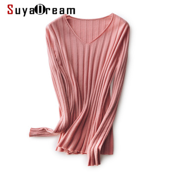 SuyaDream woman Color Wool sweaters 100%Wool V neck Pullovers Long Sleeve Solid Slim Rib knits Sweaters 2020 Fall Winter Top winter knits made easy