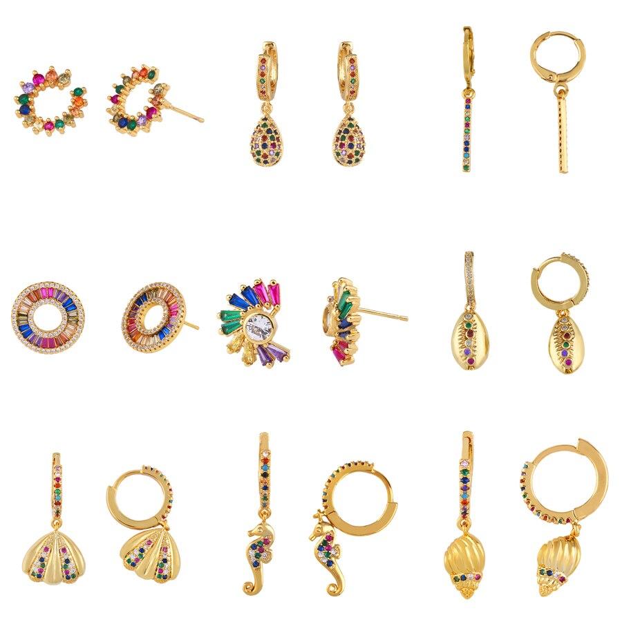 Crystal Earrings Jewelry Rainbow-Shell Gold Women Heart Charm Zircon Summer-Style