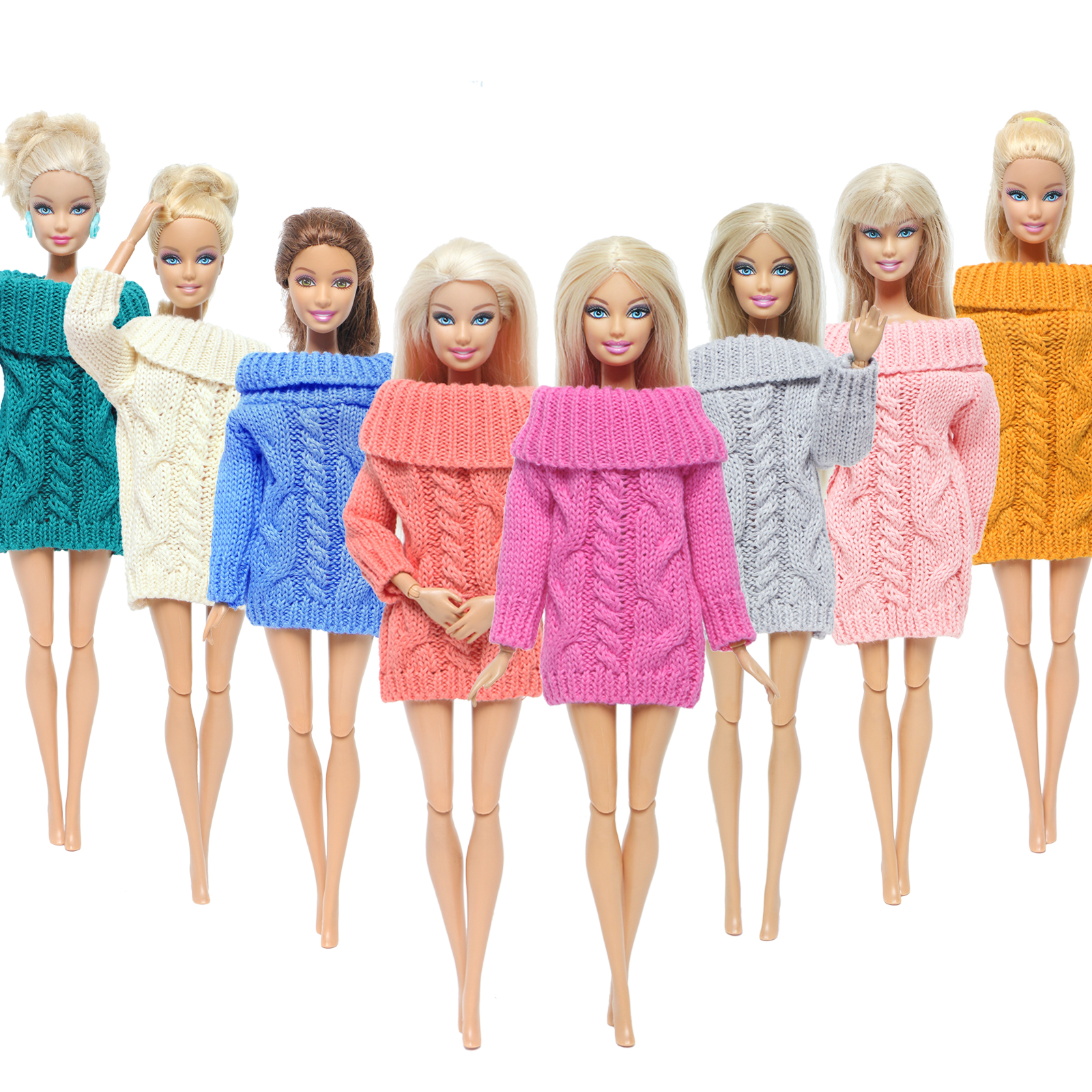 Handmade Colourful Mix Doll Coat Pure Cotton High Quality Sweater Winter Knitted Dress Clothes For Barbie Doll Girl Accessories