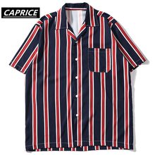 Color Block Stripe Beach Shirts Streetwear Men Summer Hip Hop Pocket Short Sleeve 2019 Male Fashion Turn-down Shirt цены