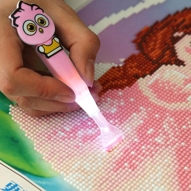 Cartoon Diamond Painting Drill LED Pen with Light Cross Kit Embroidery Painting