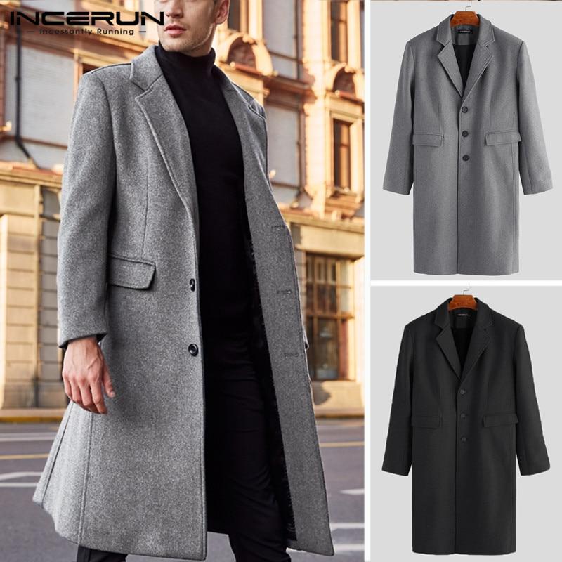 INCERUN Winter Men Coats Fake Wool Jackets Solid Long Sleeve Faux Fleece Men Overcoats Streetwear Fashion Long Trench Coats 2019 in Wool amp Blends from Men 39 s Clothing