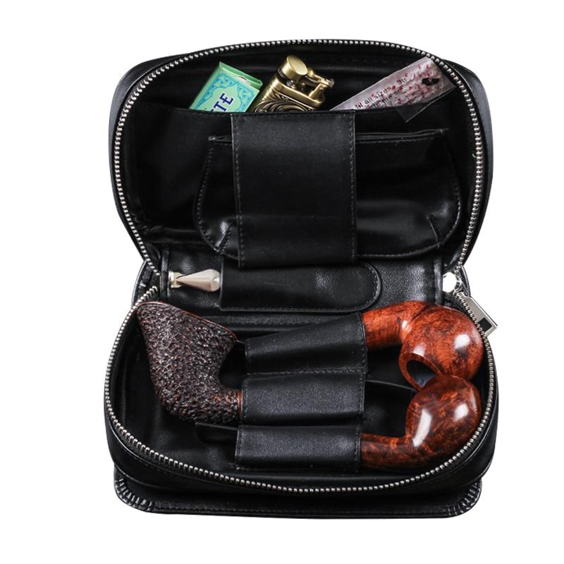 Новинка, 1 шт., кожаная трубка, чехол для табака с 3 карманами для труб, черный