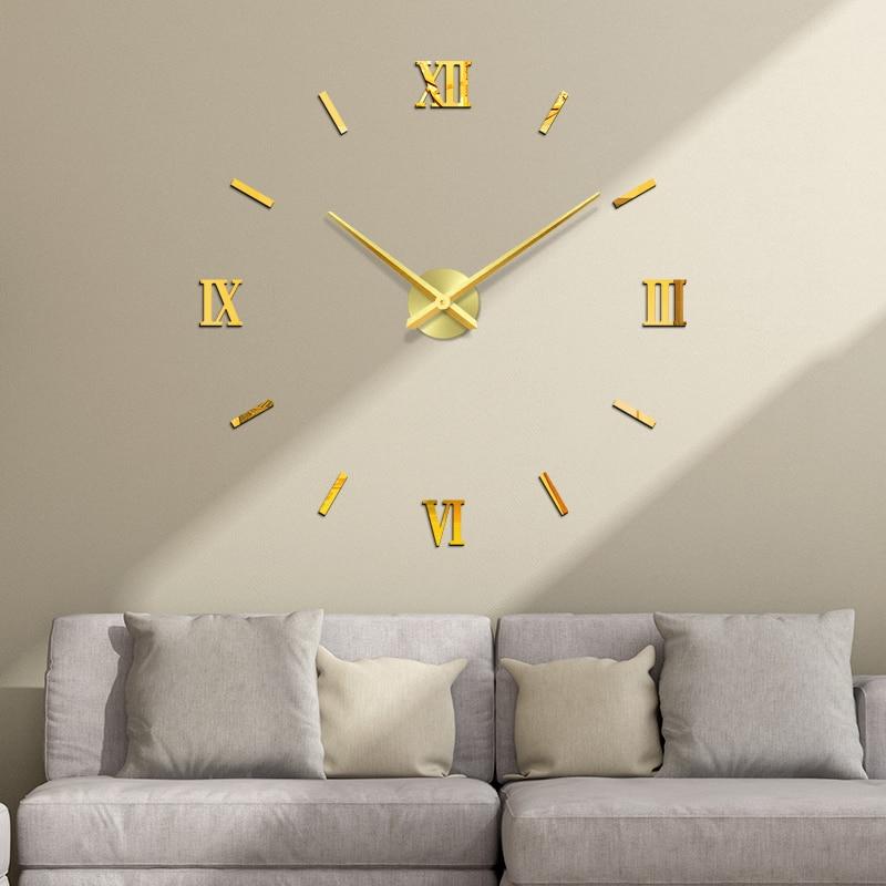 48 Inch Fashion Diy Acrylic Mirror Wall Clock Europe 3d Big Quartz Watch Still Life Clocks Living Room Home Decoration Stickers Wall Clocks Aliexpress