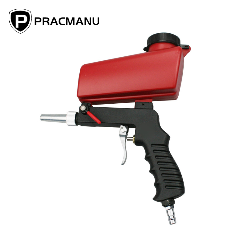 PRACMANU Portable Gravity Pneumatic Sandblaster Gun Lightweight Aluminium Handheld Blasting Device Spray Gun Power Tool