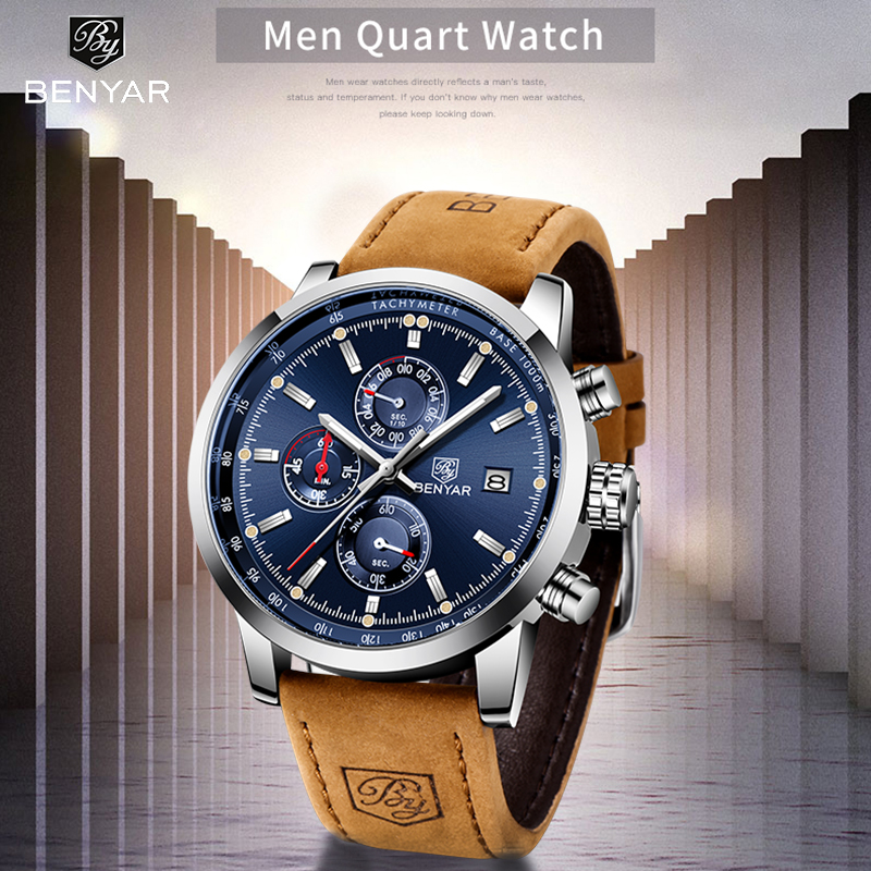 BENYAR 2020 New Quartz Men's Watches Multifunction Sport Wristwatch Mens Top Brand Luxury Watch Men Military Watch Reloj Hombres