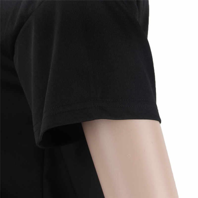 ANJAMANOR النيون إلكتروني طباعة أسود T قميص ملابس حريمي 2019 أزياء الصيف عارضة قمم المحملات الرسم فضفاض لطيف قمصان D35-AZ52