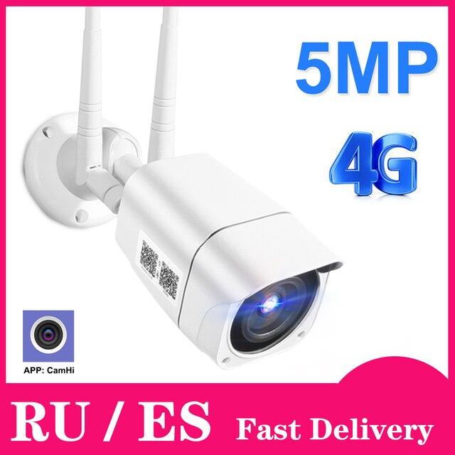 4G سيم بطاقة IP كاميرا 1080P 5MP HD اللاسلكية واي فاي في الهواء الطلق الأمن كاميرا مصغرة CCTV المعادن P2P Onvif اتجاهين الصوت Camhi