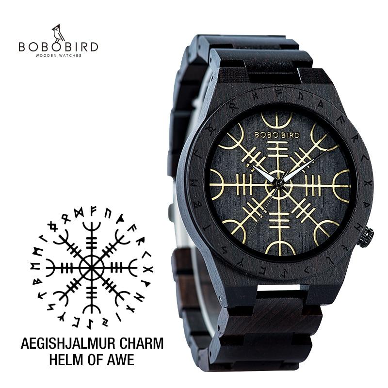 Handmade BOBO BIRD Wooden Watches Man Women Runic Circle Watch With Golden Helm Of Awe Or Vegvisir Quartz Wristwatch Male