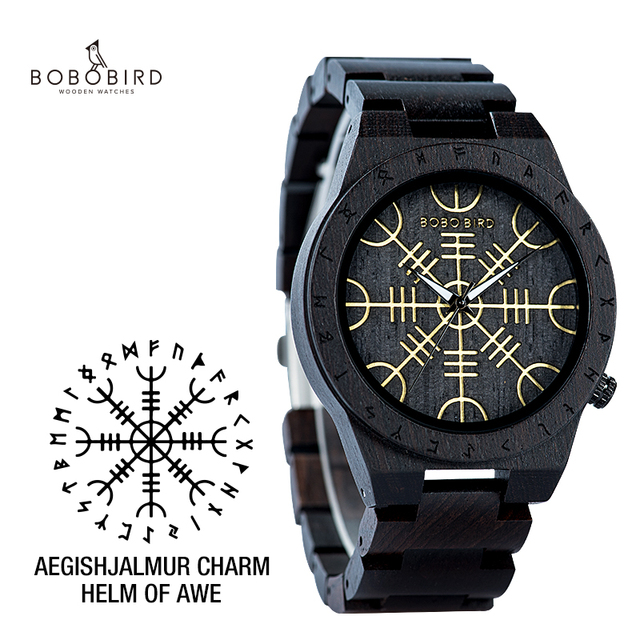 Handmade BOBO BIRD Wooden Watches Man Women Runic Circle Watch with Golden Helm of Awe or Vegvisir Quartz Wristwatch MaleQuartz Watches