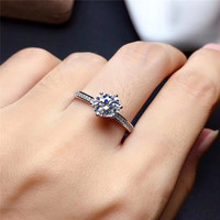 Moissanite ring real 925sterling silver 1ct VVS1 for women party with certificate fine jewelry for lady gift round excellent cut