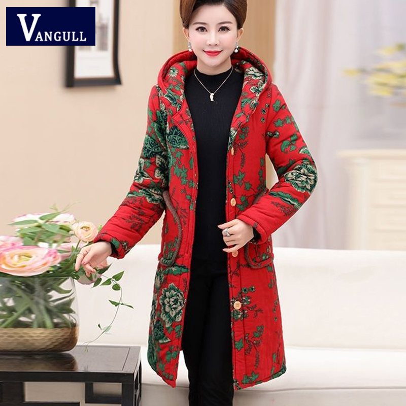 Vangull Women Winter Jacket   Parkas   Flower Print Warm Long Hooded Coat 2019 New Casual Plus Size 6XL Female Velvet Outerwear