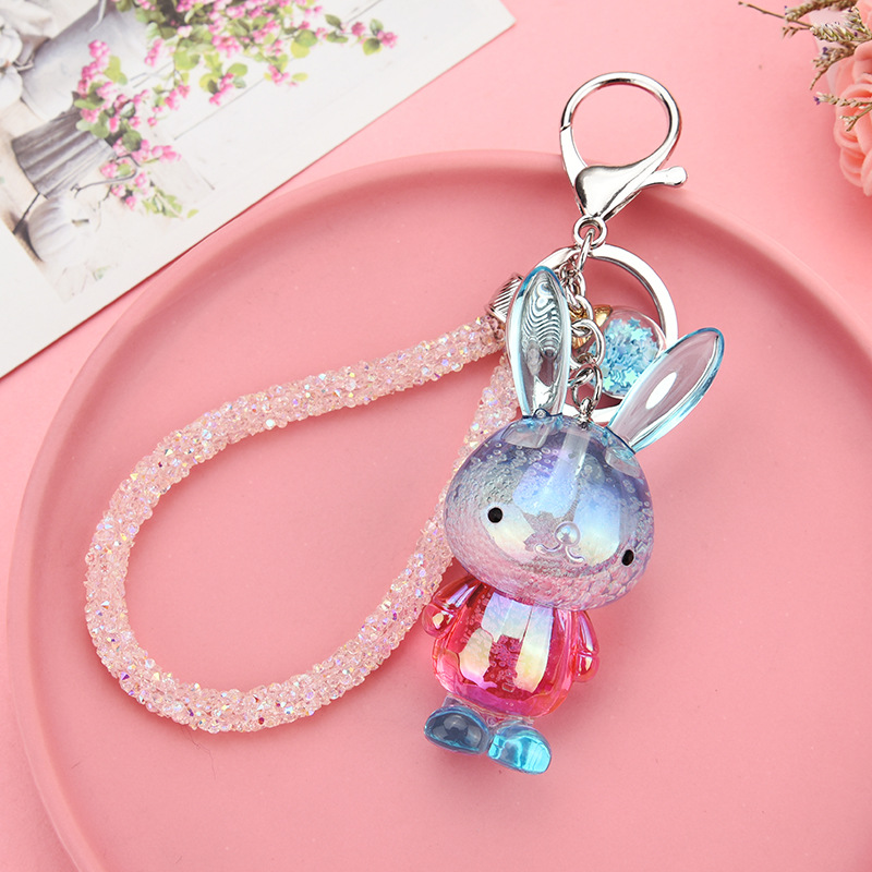 The new 2019 dazzle colour and lovely cartoon rabbit auto accessories ladies handbags fashion key chain