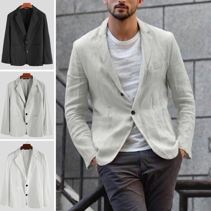 INCERUN Men Suit Collar Pure Color Cotton Linen Long Sleeve Suit Jackets Leisure Chic Button Down Trend Thin Blazer Overwear