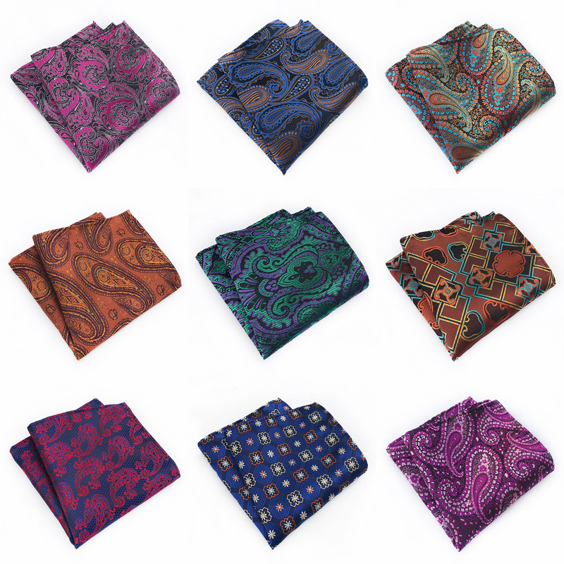 2020 New Paisley Floral Mens Silk Handkerchiefs Purple Green Blue Grey Mens Business Wedding Pocket Square Suit Accessories A064