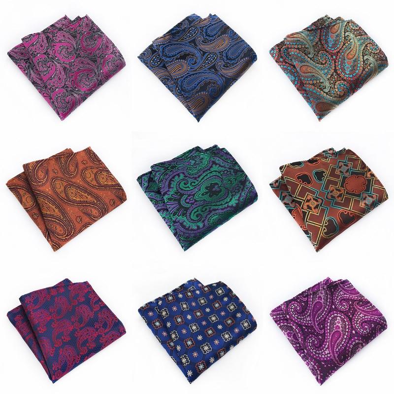 2020 New Paisley Floral Mens Silk Handkerchiefs Purple Green Blue Grey Mens Business Wedding Pocket Square Suit Accessories A064