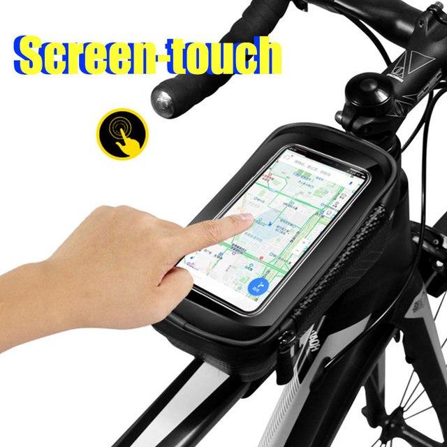 Saco de bicicleta frente à prova dwaterproof água ciclismo saco 6.2 polegada do telefone móvel bicicleta superior tubo guiador sacos mountain ciclismo acessórios 2