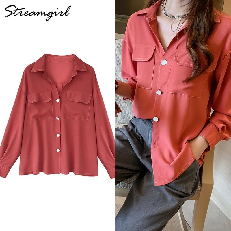 Women Shirts Long Sleeve Botton Shirt Chiffon Summer Tops Vintage Retro White Shirt For Women Office Red Shirts Woman Blouse OL