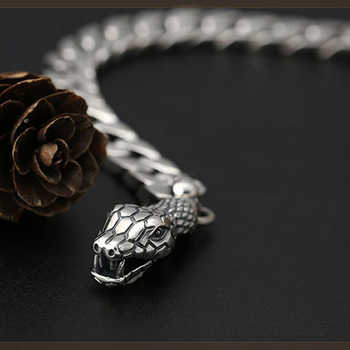 Chain Link Snake head Bracelet For Men Women Lover 8mm Width Solid 925 Sterling Silver Biker Gift Fashion Jewelry