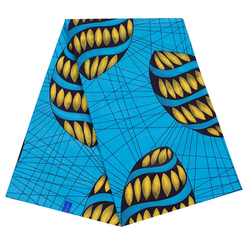 2019 New Arrivals 100% Cotton Sky-Blue Color & Yellow Olive Shape Print Les Pagnes Wax