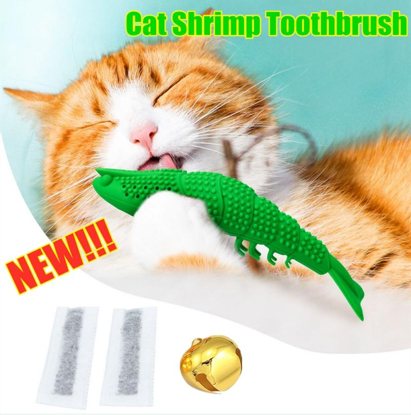 Pet Cat Kitten Chewing Cat Toys Shrimp Toothbrush Pet Eco-Friendly Silicone Molar Teeth Cleaning Toy Fish Interactive Stick image