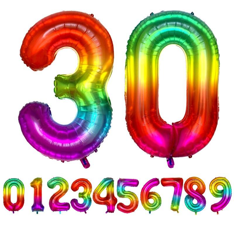 Gigante 42 polegada arco-íris número da folha balões grande dígito hélio balões decorações de casamento festa de aniversário fontes do chuveiro do bebê