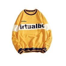 Korean Letters Printing Hoodie Men 2019 Autumn Cotton Loose Round Neck Sweatshirt Men Male Hip Hop Streetwear Tops  harajuku burgundy round neck letters print sweatshirt