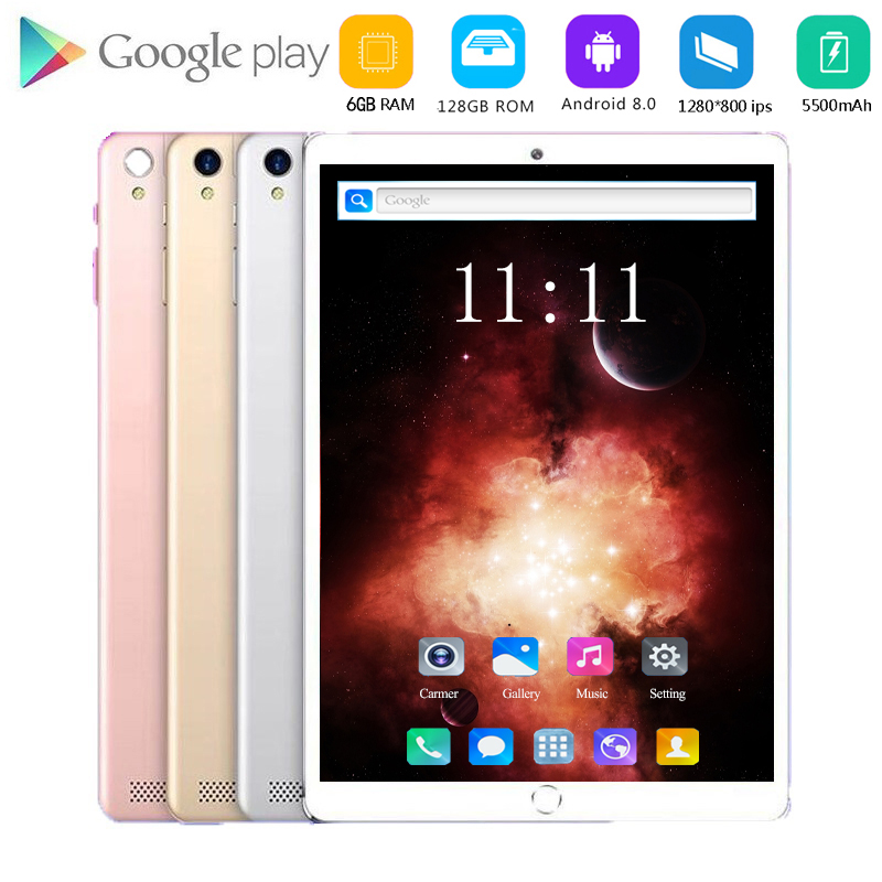 2020 New 10.1 Inch Tablet PC Android 8.0 6GB RAM 128GB ROM 4G Lte Phone Call Tablets Dual SIM Camera Tablet GPS FM WIFI