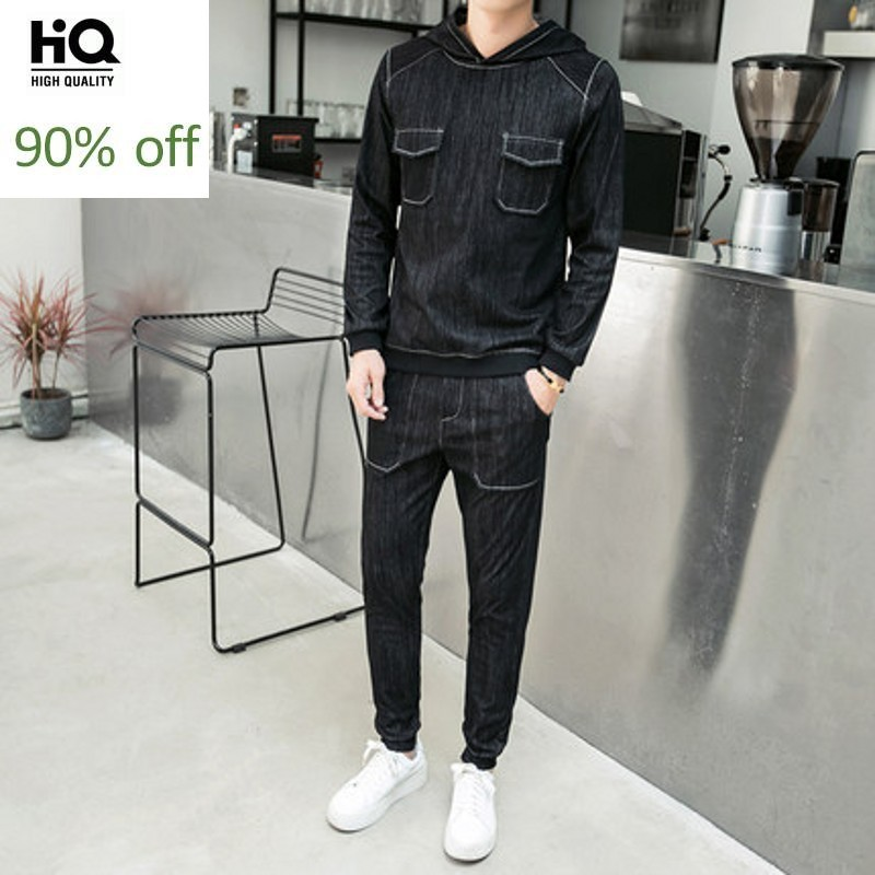 Suits Mens 2020 Spring Korean Fashion Streetwear Pullover Long Sleeve Hooded Male Denim Tops Casual Elastic Waist Jeans Sets Man