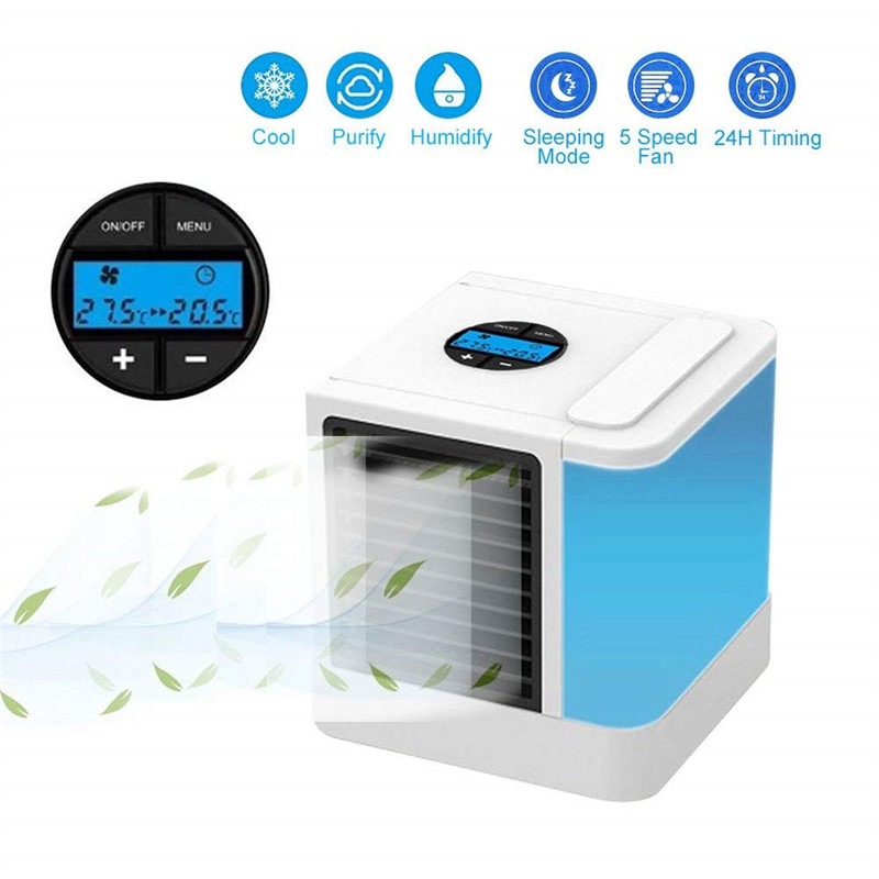 Mini Portable LCD Air Conditioner Humidifier Purifier Light Desktop USB Air Cooling Fan Air Cooler Fan For Office Home 7 Colors