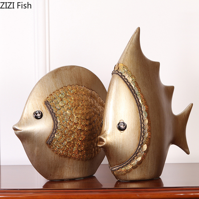 High-end European Ornaments Creative Home Decorations Ceramic Crafts Couple Fish TV Cabinet Ornaments Wedding Gifts اكسسوارات منزلية