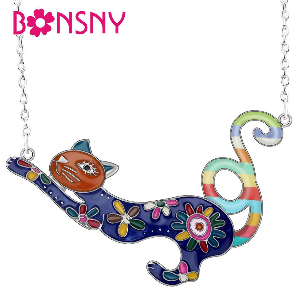 Bonsny Emaille legering Kleurrijke Franse kat Kitten ketting hanger ketting dier sieraden voor vrouwen meisje nieuwe charme cadeau 2019 nieuwe verkoop
