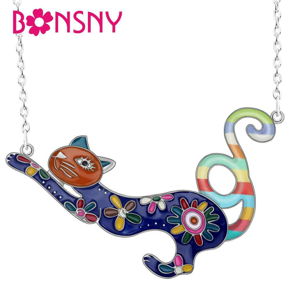 Bonsny Enamel Alloy Colorful French Cat Kitten Necklace Pendant Chain Animal Jewelry For Women Girl New Charm Gift 2019 New Sale